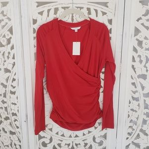 Cabi Hanky Wrap Long Sleeved Top in Hot Tamale NWT